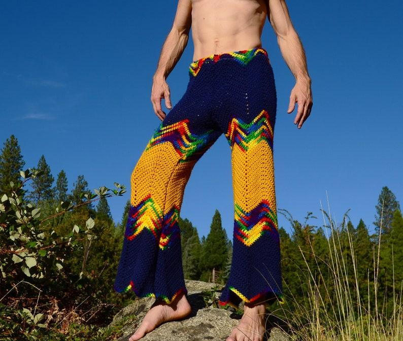Crochet Pants Navy and Saffron Chevrons and Rainbows XL image 0