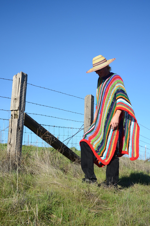 Crochet Poncho Multicolor Stripes