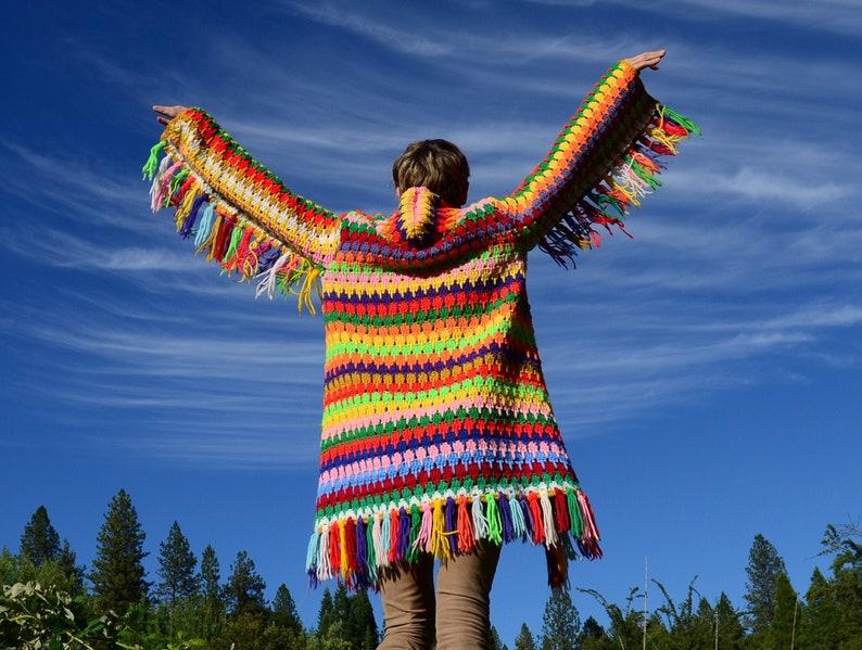 Crochet Sweater Hoodie Multicolor Fringe image 0