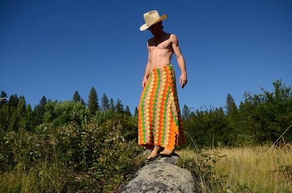 Crochet Orange Pink Stripes and Manskirt Skirt Green qrf5Sxqw