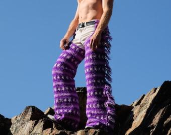 Crochet Chaps Cowboy Side Fringe Purple And White Wool L