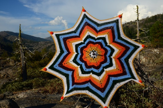 Crochet Parasol Orange Sunshine Stars and PomPoms