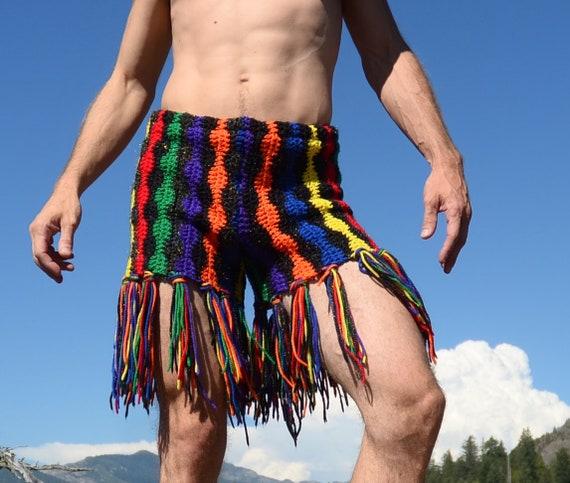 Stripes Sparkly Fringe Long and Crochet Rainbow Shorts ASwtAq4