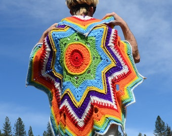 Crochet Cape Rainbow Star