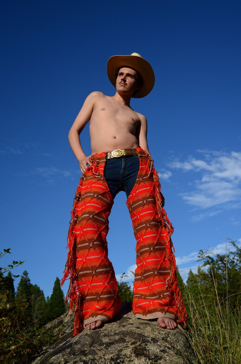 Crochet Chaps Rust Side Fringe and Stripes XL image 0