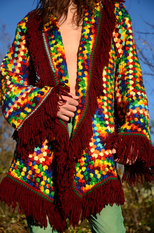 Crochet Sweater Robe Rainbow Fringe Sale Trippy Hippy Afghan Pattern Kingdom Gallery Photo