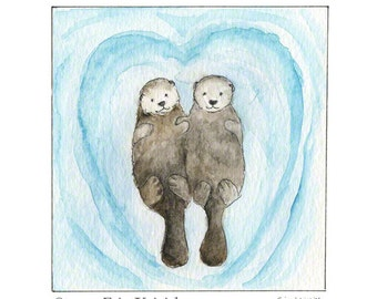 Otters Holding Hands Etsy