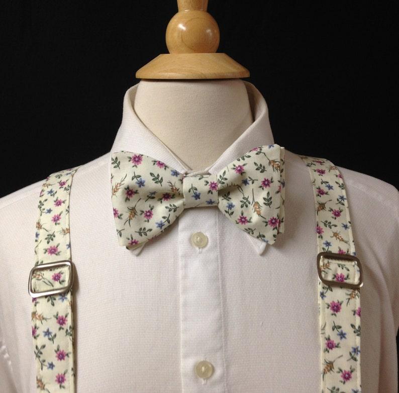 NEW Handmade Custom Bow tie Floral Black//Gold Pre Tied Adjustable Wedding Tie