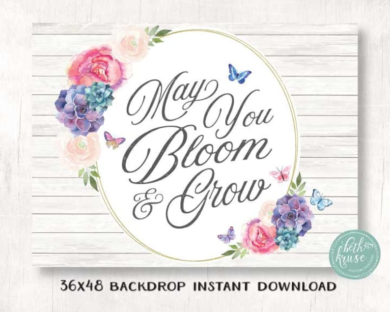 Instant Download Beth Kruse CC Butterfly Party Floral Printable 36X48 Backdrop PDF file Girl Birthday First Birthday Baby Shower