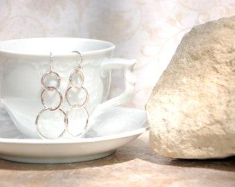 Fine Silver Three Bubble Earrings............no. 645