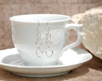 Fine Silver Five Tin Circles Earrings............no. 650