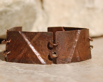 Oxidized Hand Hammered Fold Form Copper Bracelet............item #5497