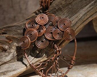 Copper Swirls Tree of Life Necklace....no. 7599b