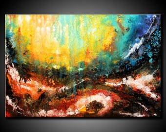 Abstract Painting Acrylic Original 24x36 Canvas Modern Colorful Contemporary Fine Art by Federico Farias.