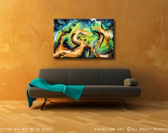 Original Abstract Painting. Acrylic on a 24x36 Canvas. Modern Colorful Fine Art by Federico Farias.