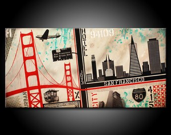 San Francisco City MADE TO ORDER Original Painting Acrylic 48x24 Canvas Modern Red Black & Teal Urban Abstract Fine Art by Federico Farias