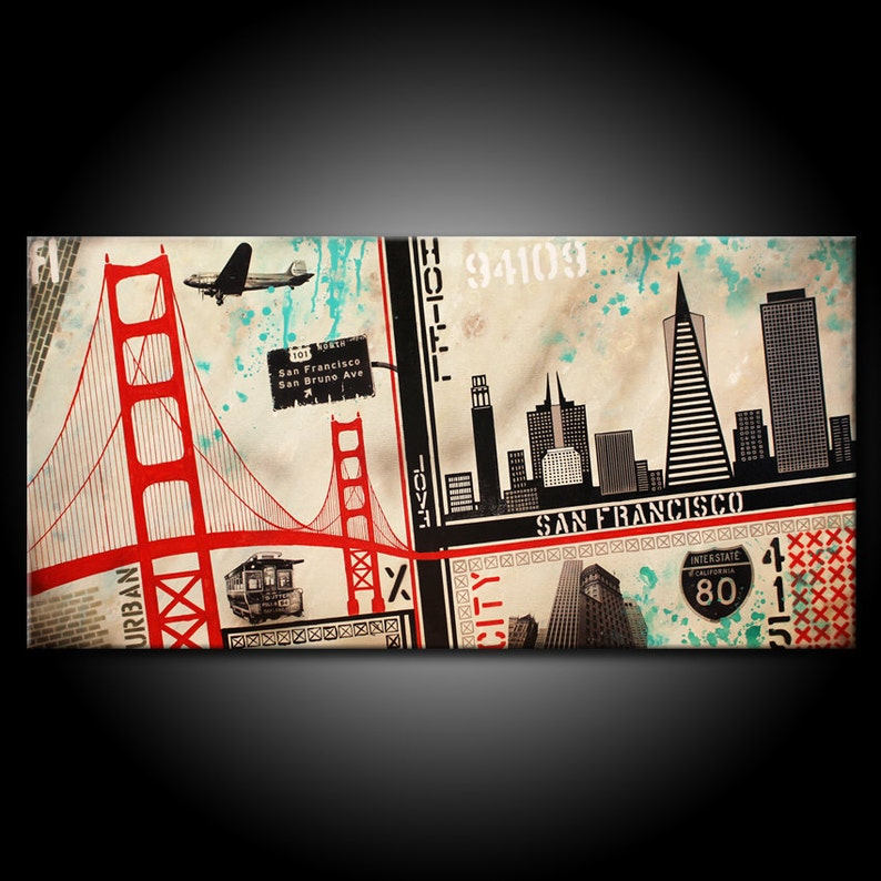 San Francisco City MADE TO ORDER Original Painting Acrylic image 0