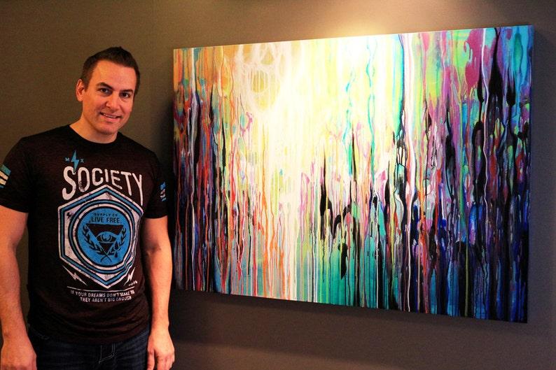 31x44 ORIGINAL Abstract Painting BIG Modern Acrylic Colorful image 0