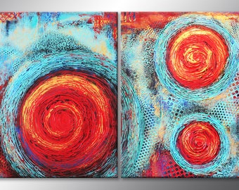 63x38 Textured Abstract Painting Modern ORIGINAL Teal & Red Canvas Fine Art by Maria Farias