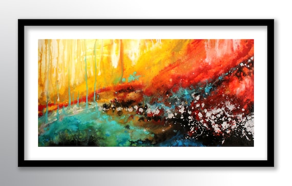 11x17 Print Abstract Painting On Glossy Cover Stock Wall Art Colorful Modern Fine Art By Farias