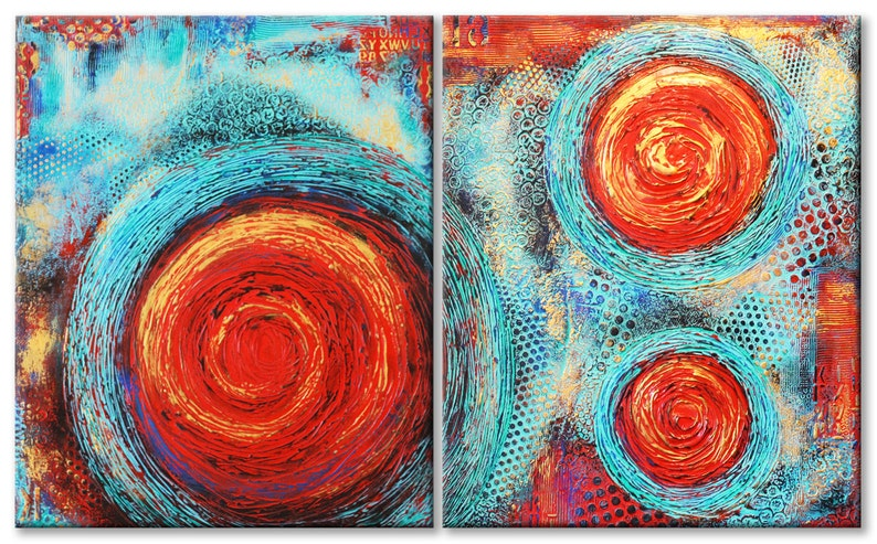 63x38 Textured Abstract Painting Modern ORIGINAL Teal & Red image 0