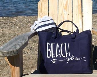 Tote Bag - Beach Tote Bag Beach Please Tote Navy Tote Anchor Tote Summer Bag Beach Bag Pool Bag Nautical Tote Bag Nautical Wedding