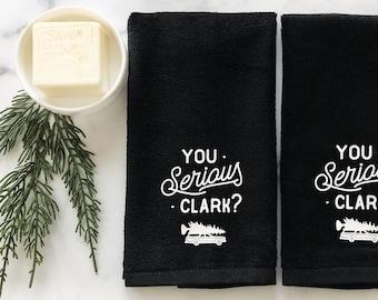 Bathroom Hand Towel Set Christmas Home Decor, Small Fingertip Towels, You Serious Clark, Winter Decor, Farmhouse Bathroom