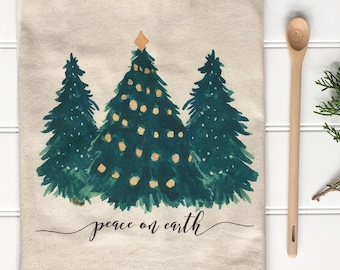Christmas Tea Towel - Peace On Earth Towel Evergreen Tea Towel Christmas Tree Towel Christmas Decor Farmhouse Decor Farmhouse Christmas