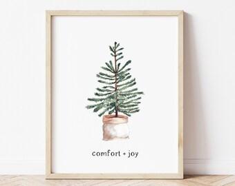 Christmas Wall Art Decor, Holiday Sign, Comfort and Joy Printed Poster, Minimalist Boho Farmhouse Decor, Scandinavian Winter Tree