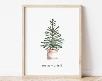Christmas Wall Art Decor, Holiday Sign, Merry and Bright Printed Poster, Minimalist Boho Farmhouse Decor, Scandinavian Winter Tree