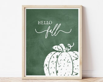 Pumpkin Wall Decor Fall Sign, Living Room Wall Art Print for the Home, Hello Fall Chalkboard Printed Poster 8 x 10 Mantle Decor