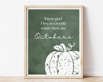 October Quote Printed Wall Decor Art, Fall Signs for the Home, Autumn Chalkboard Poster Print, Mantle Decor