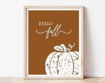 Pumpkin Wall Decor Fall Sign, Living Room Wall Art Print for the Home, Hello Fall Rust Printed Poster 8 x 10