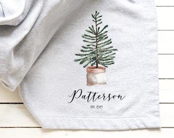 Personalized Christmas Gift, Custom Throw Blanket, Customizable Housewarming Gift, Scandinavian Farmhouse Decor, Gift for the Couple