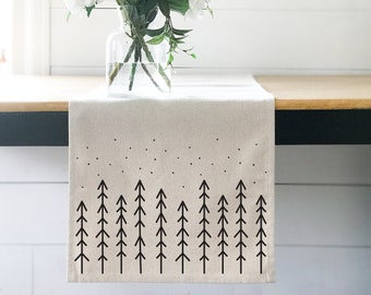 Table Runner, Boho Decor, Nordic Christmas Trees, Hygge Runner, Christmas Table Runners, Winter Decor, Scandinavian Tabletop, Kitchen