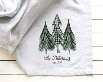 Personalized Blanket, Custom Christmas Gift, Customizable Housewarming Gift, Winter Farmhouse Decor, Throw Blanket, Gift For Her