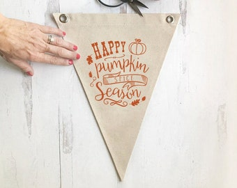 Fall Pennant Flag Wall Decor, Happy Pumpkin Spice Season Wall Art Banner, Canvas Home Decor, Kitchen Art, Dining Room