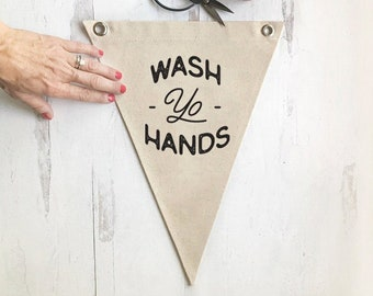 Pennant Flag Wall Decor, Funny Bathroom Sign, Don't Be Gross Wash Your Hands, Canvas Wall Art Banner, Home Decor, Kitchen Art