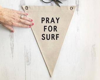 Pennant Flag Beach Wall Decor, Pray for Surf Wall Art Banner, Coastal Home Decor for Summer