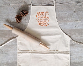 Happy Pumpkin Spice Season - Thanksgiving Apron - Fall Baking - Autumn Cooking - Farmhouse Decor - Kitchen Gift - Housewarming