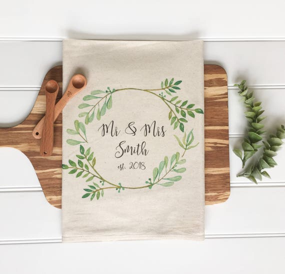 Embroidered Towels For Wedding Gift: Tea Towel Personalized Tea Towel Wedding Gift Housewarming