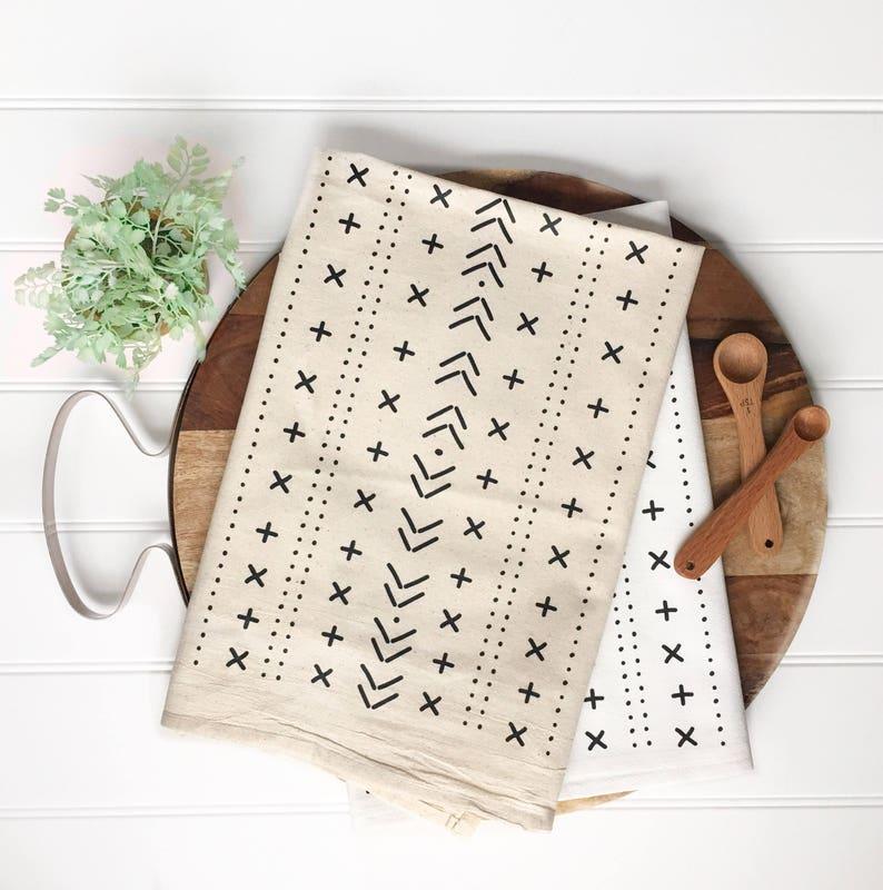 mudcloth inspired tea towel kitchen dish cloth bohemian style flour rh etsy com