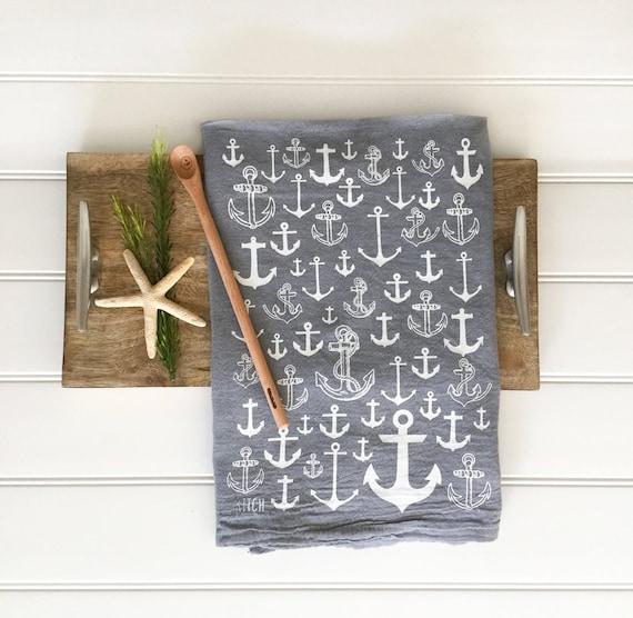 Tea Towel - Anchor Towel Grey Kitchen Towel Flour Sack Towel Nautical Decor  Beach Decor Coastal Decor Summer Decor Kitchen Decor Farmhouse
