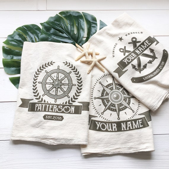Tea Towels Unique: CUSTOMIZABLE Tea Towel Nautical Tea Towel Custom Wedding