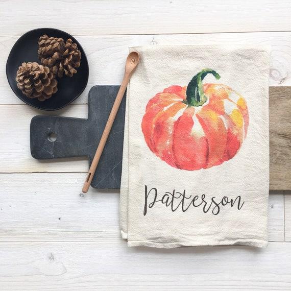 Tea Towels Unique: Personalized Tea Towel Custom Name Pumpkin Kitchen Dish