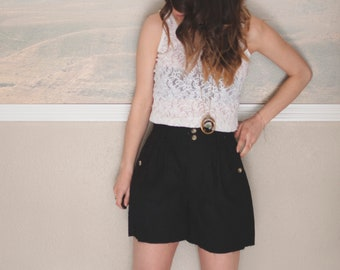 high waisted black cut off shorts, small