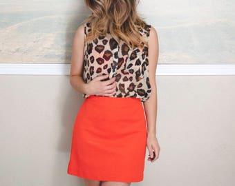 vintage orange high waisted skirt, small