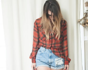 sheer vintage plaid button up by Decree, small