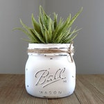 Mason jar succulent planter with aloe plant, artificial succulent planter, distressed mason jar succulent decor, southwest farm home decor