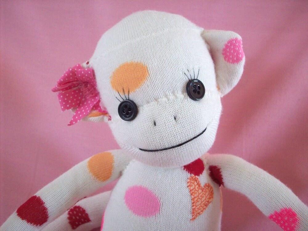 Sock Monkey Stuffed Toy Sock Monkey Stuffed Animal Sock Etsy